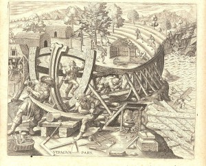 1559 | Schiffsbau in Spanien Kupferstich von Theodor de Bry Quelle: Wikimedia Commons
