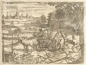 1695 | Einsammeln und Abtransport von Holz mit Pferdegespann Kupferstich Wolf Helmhardt von Hohberg Quelle: Wikimedia Commons