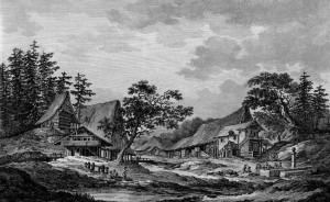 Ca. 1780 | Kupferstich aus Ansichtenwerk von Beat Fidel Zurlauben Archiv: Kantons- und Universitätsbibliothek Lausanne Quelle: ViaticAlpes