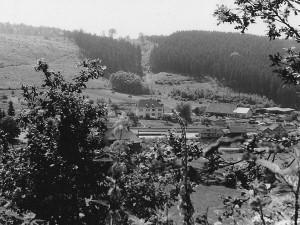 1950er | Vorne Landhandel Sohnius, hinten Sägewerk Sohnius Im Hintergrund, durch Reparationsausgleich an Frankreich abgeholzter Manchertskopf Archiv: Ulrich Sohnius