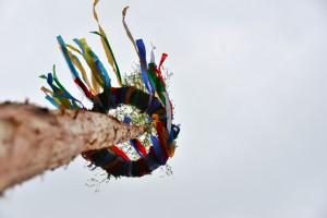 Der Maikranz in luftiger Höhe Foto: Yvette Schäck