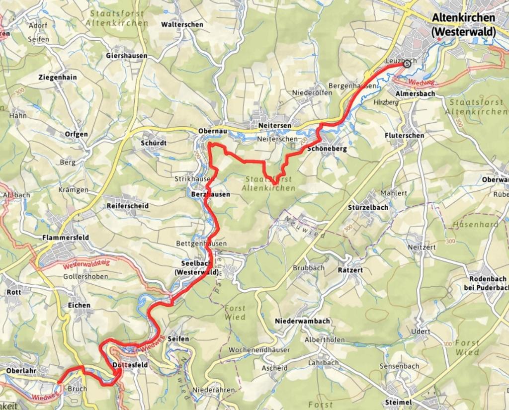 Westerwald Karte.Wiedweg Seelbach Wied
